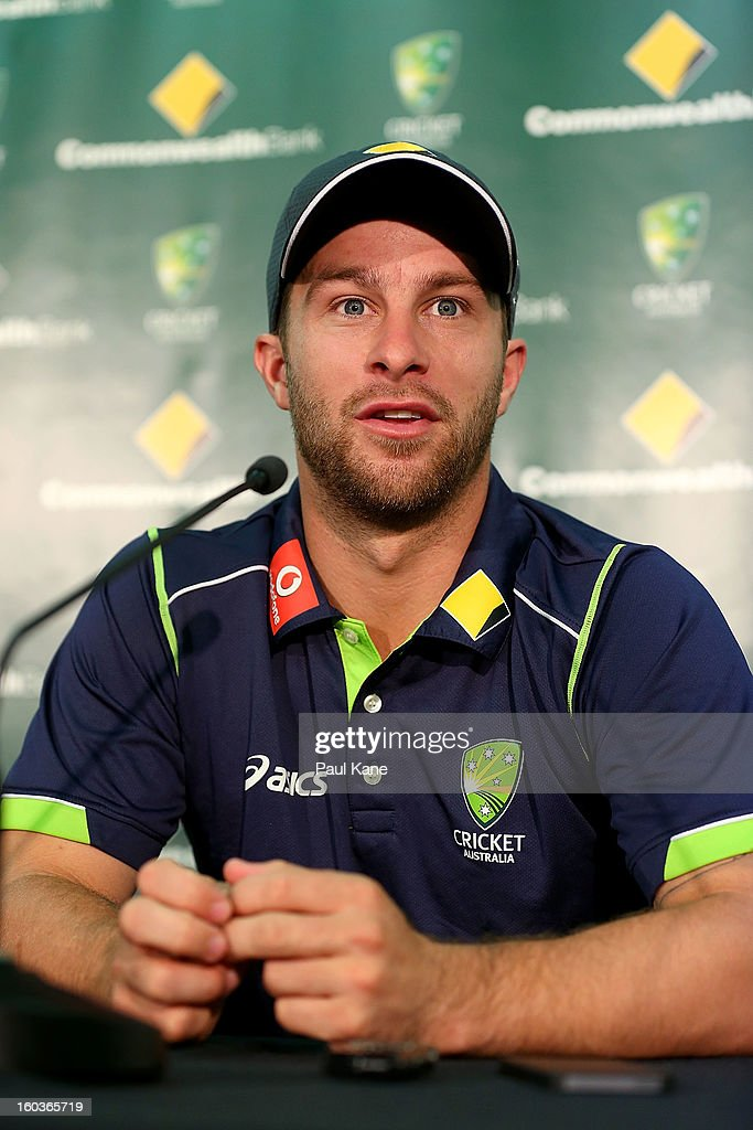<a gi-track='captionPersonalityLinkClicked' href=/galleries/search?phrase=Matthew+Wade&family=editorial&specificpeople=724041 ng-click='$event.stopPropagation()'>Matthew Wade</a> addresses the media before an Australian One Day International training session at WACA on January 30, 2013 in Perth, Australia.