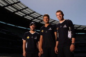 Matthew Wade James Pattinson and Peter Siddle pose during a Cricket Victoria portrait session at Melbourne Cricket Ground on October 17 2012 in...