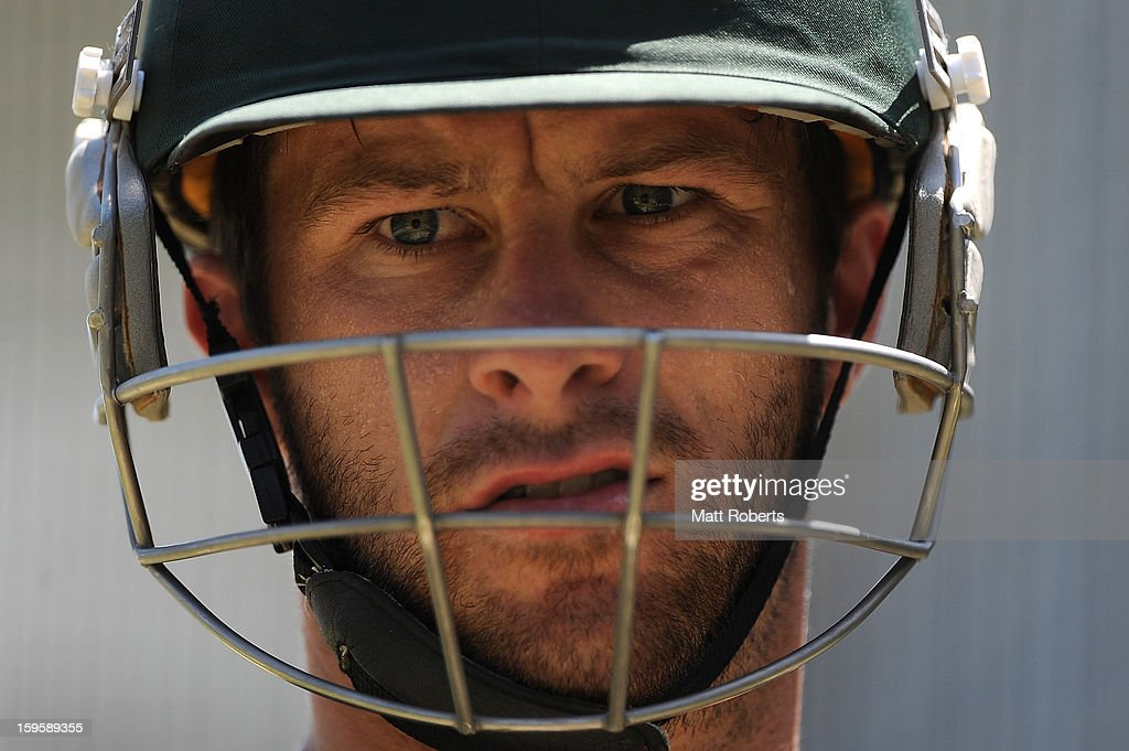 <a gi-track='captionPersonalityLinkClicked' href=/galleries/search?phrase=Matthew+Wade&family=editorial&specificpeople=724041 ng-click='$event.stopPropagation()'>Matthew Wade</a> looks on during an Australian training session at The Gabba on January 17, 2013 in Brisbane, Australia.