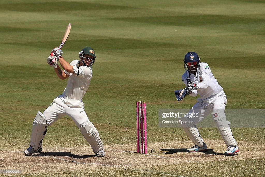 Matthew Wade of Australia bats during day four of the Third Test match between Australia and Sri Lanka at Sydney Cricket Ground on January 6, 2013 in Sydney, Australia.