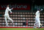 Matthew Wade of Australia celebrates after catching Thilan Samaraweera of Sri Lanka off the bowling of Nathan Lyon of Australia during day two of the...