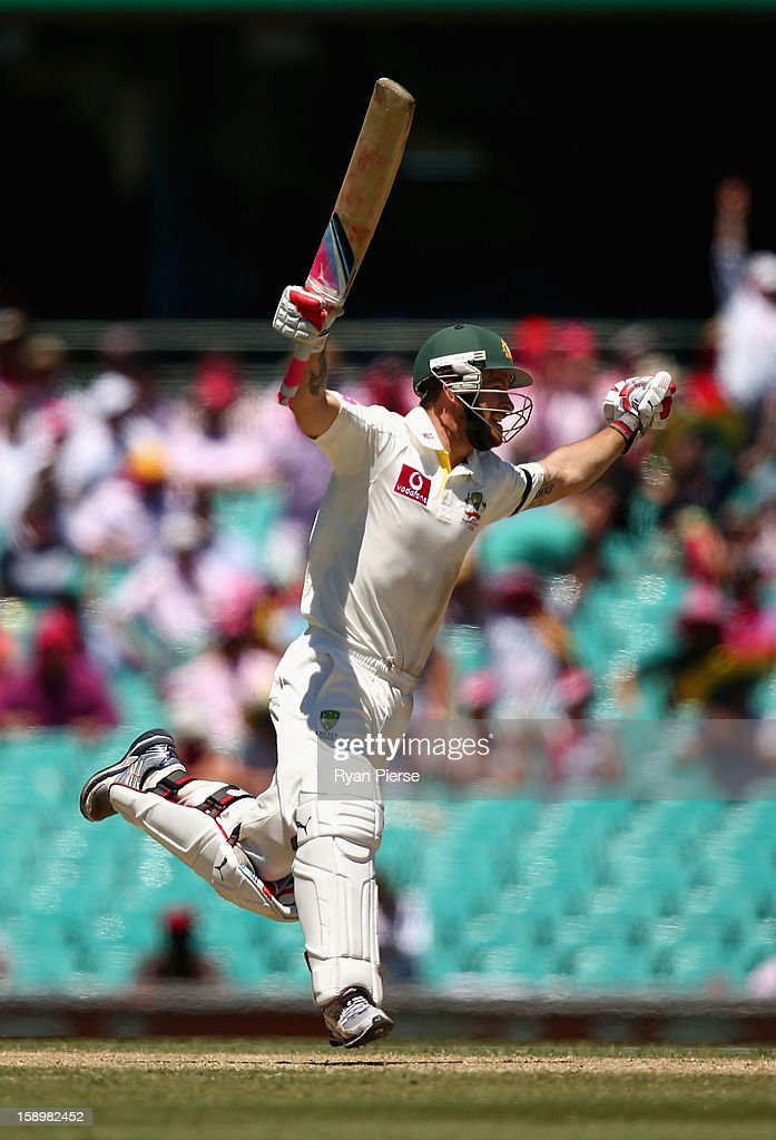 Matthew Wade of Australia celebrates after reaching his century during day three of the Third Test match between Australia and Sri Lanka at Sydney Cricket Ground on January 5, 2013 in Sydney, Australia.