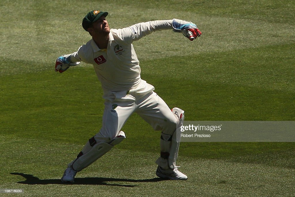 Matthew Wade of Australia celebrates after taking a catch to dismiss Kumar Sangakkara off the bowling of Mitchell Johnson during day one of the Second Test match between Australia and Sri Lanka at Melbourne Cricket Ground on December 26, 2012 in Melbourne, Australia.