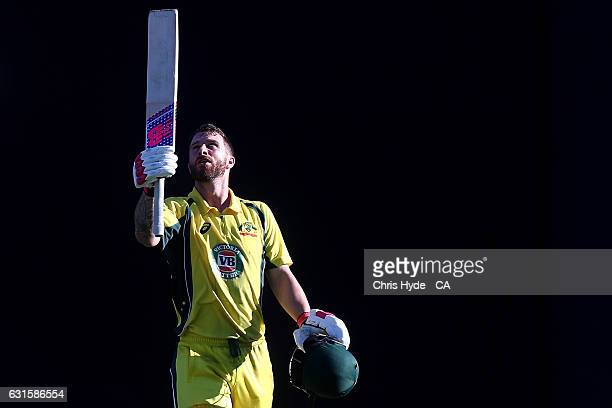 Matthew Wade of Australia celebrates his Century during game one of the One Day International series between Australia and Pakistan at The Gabba on...