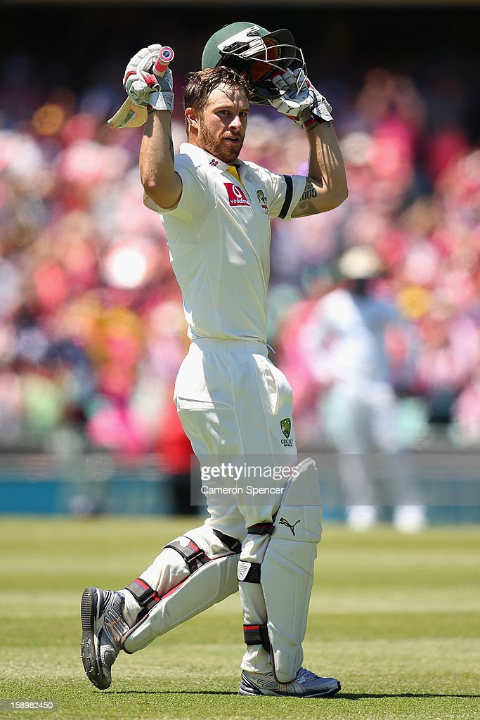 Matthew Wade of Australia celebrates scoring a century during day three of the Third Test match between Australia and Sri Lanka at Sydney Cricket Ground on January 5, 2013 in Sydney, Australia.