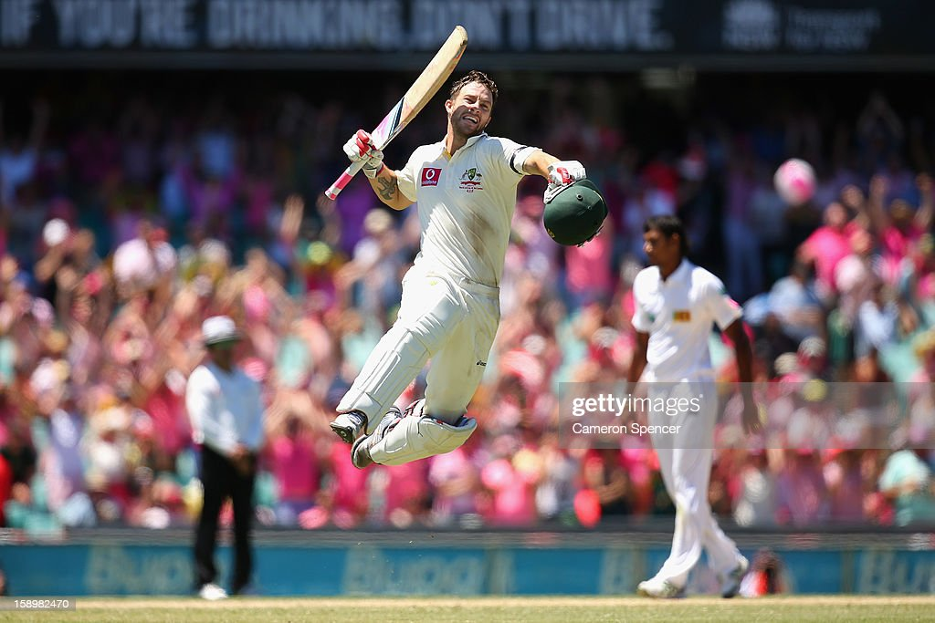 <a gi-track='captionPersonalityLinkClicked' href=/galleries/search?phrase=Matthew+Wade&family=editorial&specificpeople=724041 ng-click='$event.stopPropagation()'>Matthew Wade</a> of Australia celebrates scoring a century during day three of the Third Test match between Australia and Sri Lanka at Sydney Cricket Ground on January 5, 2013 in Sydney, Australia.