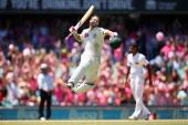 Matthew Wade of Australia celebrates scoring a century during day three of the Third Test match between Australia and Sri Lanka at Sydney Cricket...