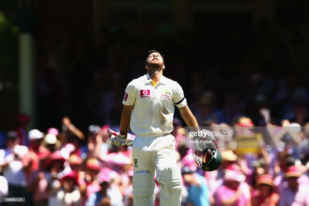 Matthew Wade of Australia celebrates scoring his century during day three of the Third Test match between Australia and Sri Lanka at Sydney Cricket Ground on January 5, 2013 in Sydney, Australia.