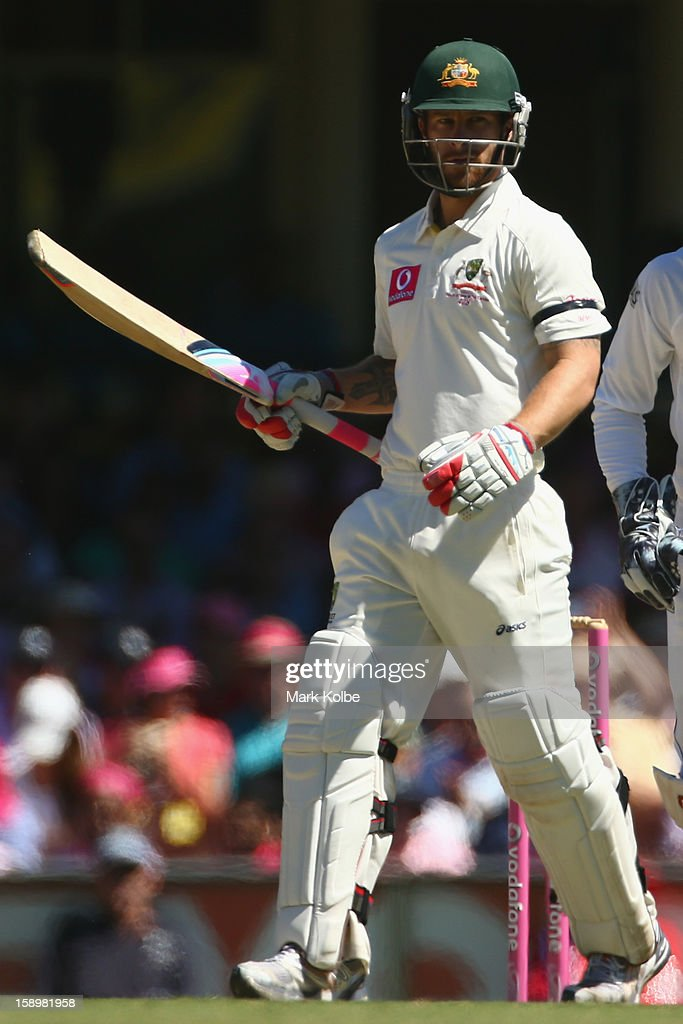 Matthew Wade of Australia celebrates scoring his half century during day three of the Third Test match between Australia and Sri Lanka at Sydney Cricket Ground on January 5, 2013 in Sydney, Australia.