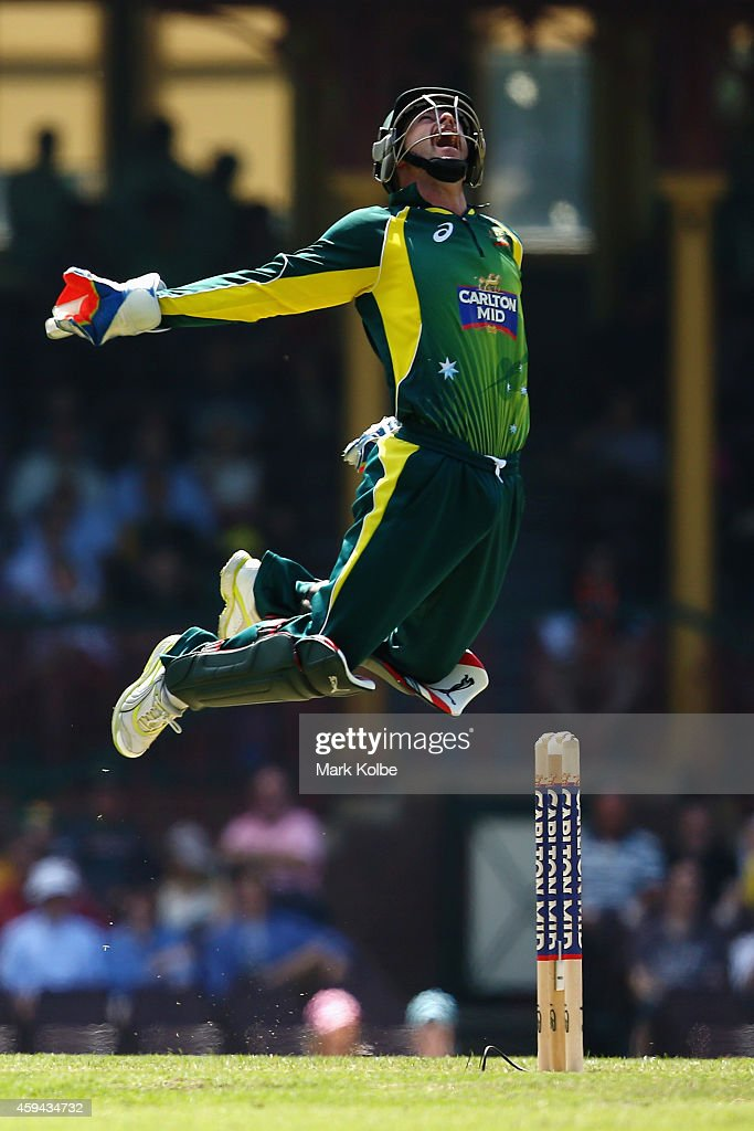 Matthew Wade of Australia celebrates taking the catch to dismss Hashim Amla of South Africa during game five of the One Day International series between Australia and South Africa at the Sydney Cricket Ground on November 23, 2014 in Sydney, Australia.