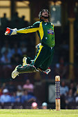Matthew Wade of Australia celebrates taking the catch to dismss Hashim Amla of South Africa during game five of the One Day International series...