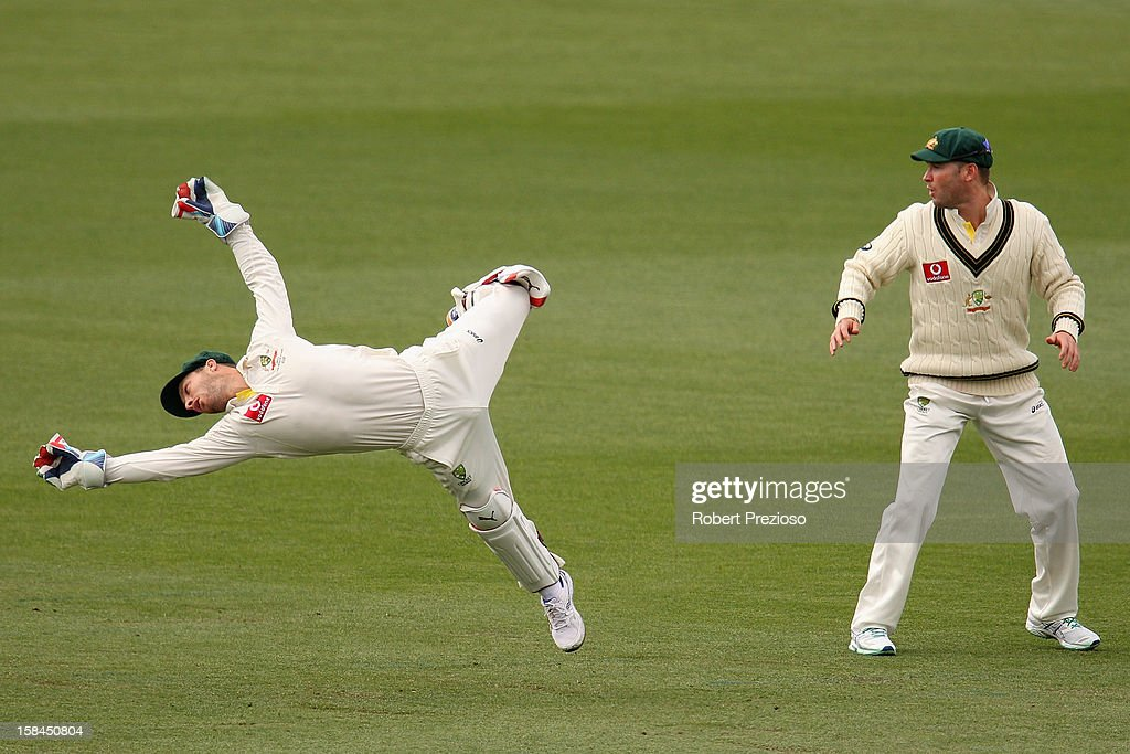 Matthew Wade of Australia dives for the ball during day four of the First Test match between Australia and Sri Lanka at Blundstone Arena on December 17, 2012 in Hobart, Australia.