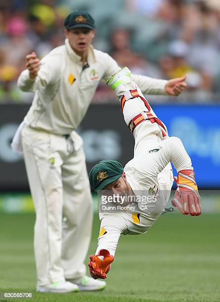 Matthew Wade of Australia dives in an effort to take a catch during day two of the Second Test match between Australia and Pakistan at Melbourne...
