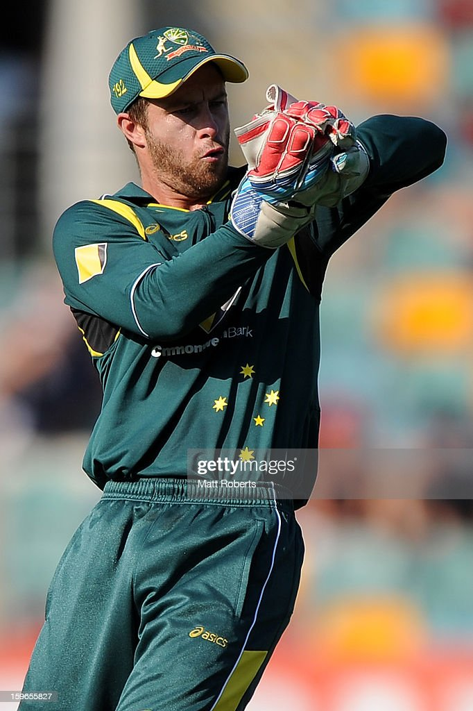 Matthew Wade of Australia fields during game three of the Commonwealth Bank One Day International Series between Australia and Sri Lanka at The Gabba on January 18, 2013 in Brisbane, Australia.