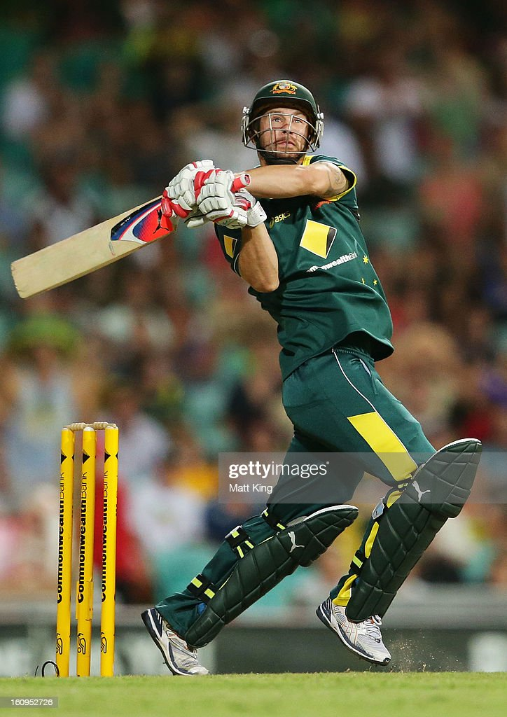 <a gi-track='captionPersonalityLinkClicked' href=/galleries/search?phrase=Matthew+Wade&family=editorial&specificpeople=724041 ng-click='$event.stopPropagation()'>Matthew Wade</a> of Australia hits a six off a free hit during game four of the Commonwealth Bank One Day International Series between Australia and the West Indies at Sydney Cricket Ground on February 8, 2013 in Sydney, Australia.