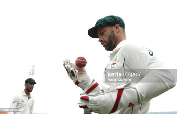 Matthew Wade of Australia prepares to enter the field for the second innings during day four of the Second Test match between Bangladesh and...