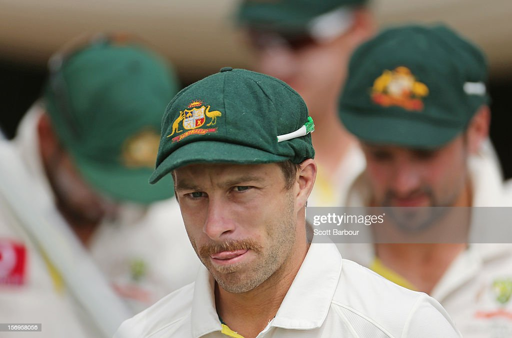 Matthew Wade of Australia runs onto the field with his team mates during day five of the Second Test Match between Australia and South Africa at Adelaide Oval on November 26, 2012 in Adelaide, Australia.