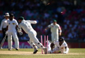 Matthew Wade of Australia runs out Angelo Mathews of Sri Lanka during day three of the Third Test match between Australia and Sri Lanka at Sydney...