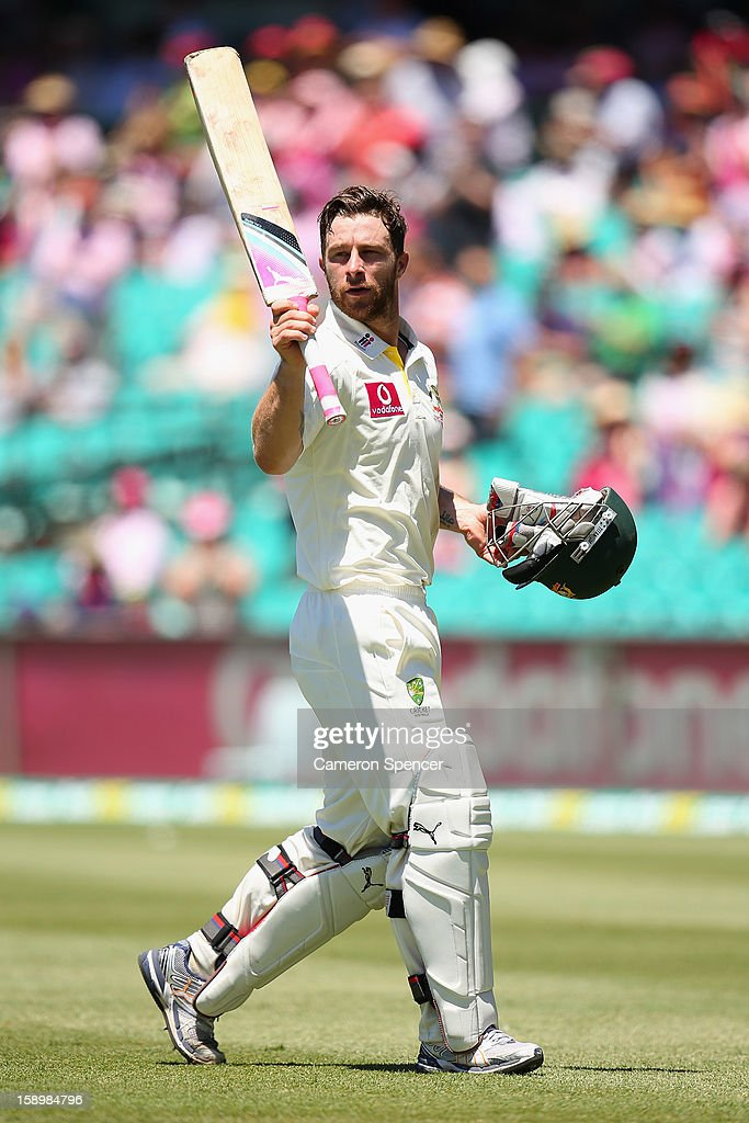 Matthew Wade of Australia salutes the crowd as he leaves the field during day three of the Third Test match between Australia and Sri Lanka at Sydney Cricket Ground on January 5, 2013 in Sydney, Australia.
