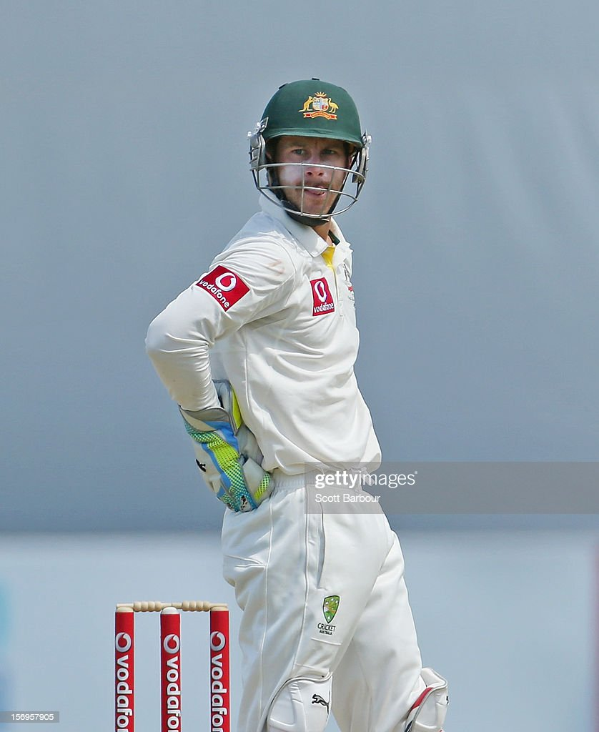 Matthew Wade of Australia watches the replay screen after dropping a catch from Faf du Plessis of South Africa during day five of the Second Test Match between Australia and South Africa at Adelaide Oval on November 26, 2012 in Adelaide, Australia.