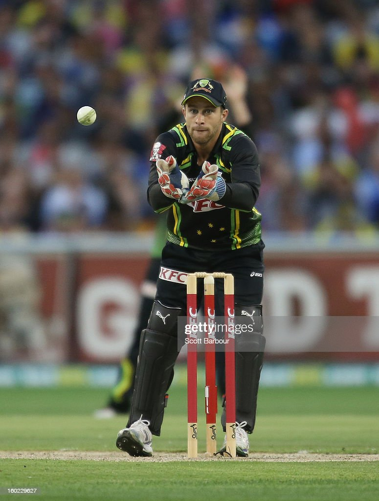 Matthew Wade of Australia wicketkeeps during game two of the Twenty20 International series between Australia and Sri Lanka at the Melbourne Cricket Ground on January 28, 2013 in Melbourne, Australia.