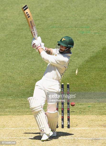 Matthew Wade of Tasmania is bowled by Peter Siddle of Victoria during day one of the Sheffield Shield match between Victoria and Tasmania at...