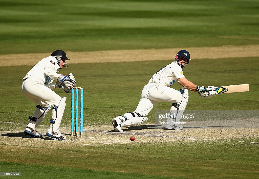 Matthew Wade of the Bushrangers bats during day three of the Sheffield Shield match between the Victoria Bushrangers and the Western Australia Warriors at Melbourne Cricket Ground on November 1, 2013 in Melbourne, Australia.