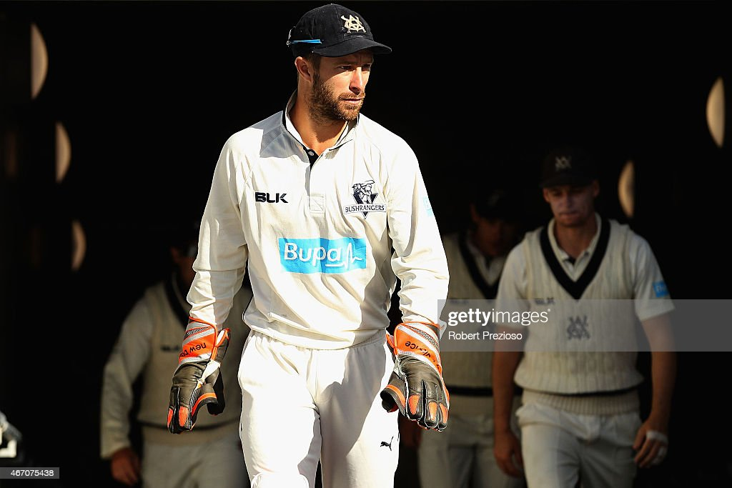 Matthew Wade of the Bushrangers leads his team out for the start of their innings during day one of the Sheffield Shield final match between Victoria and Western Australia at Blundstone Arena on March 21, 2015 in Hobart, Australia.