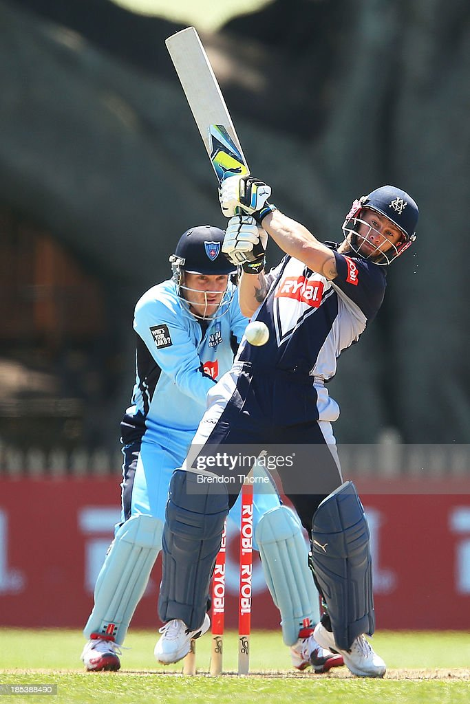 <a gi-track='captionPersonalityLinkClicked' href=/galleries/search?phrase=Matthew+Wade&family=editorial&specificpeople=724041 ng-click='$event.stopPropagation()'>Matthew Wade</a> of the Bushrangers plays a stroke on the leg side during the Ryobi Cup match between the New South Wales Blues and the Victorian Bushrangers at North Sydney Oval on October 20, 2013 in Sydney, Australia.