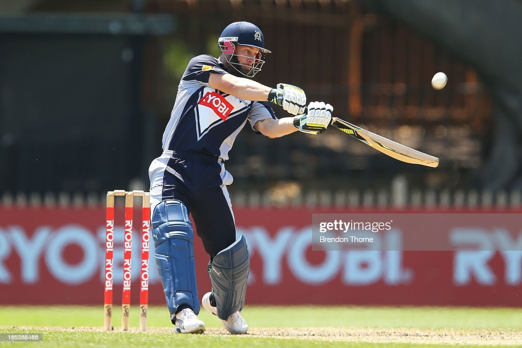 <a gi-track='captionPersonalityLinkClicked' href=/galleries/search?phrase=Matthew+Wade&family=editorial&specificpeople=724041 ng-click='$event.stopPropagation()'>Matthew Wade</a> of the Bushrangers plays a stroke on the off side during the Ryobi Cup match between the New South Wales Blues and the Victorian Bushrangers at North Sydney Oval on October 20, 2013 in Sydney, Australia.
