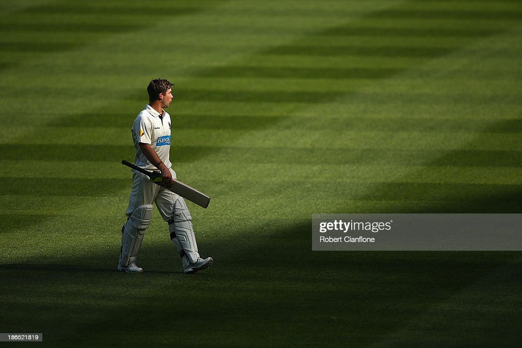 Matthew Wade of the Bushrangers walks from the ground after he was dismssed during day three of the Sheffield Shield match between the Victoria Bushrangers and the Western Australia Warriors at Melbourne Cricket Ground on November 1, 2013 in Melbourne, Australia.