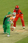 Matthew Wade of the Melbourne Renegades attempts a stumping on David Hussey of the Melbourne Stars during the Big Bash League match between the...
