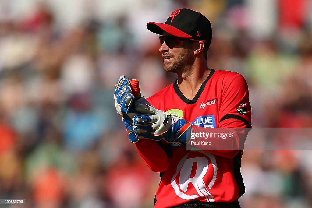 <a gi-track='captionPersonalityLinkClicked' href=/galleries/search?phrase=Matthew+Wade&family=editorial&specificpeople=724041 ng-click='$event.stopPropagation()'>Matthew Wade</a> of the Renegades looks during the Big Bash League match between the Perth Scorchers and the Melbourne Renegades at WACA on December 26, 2014 in Perth, Australia.