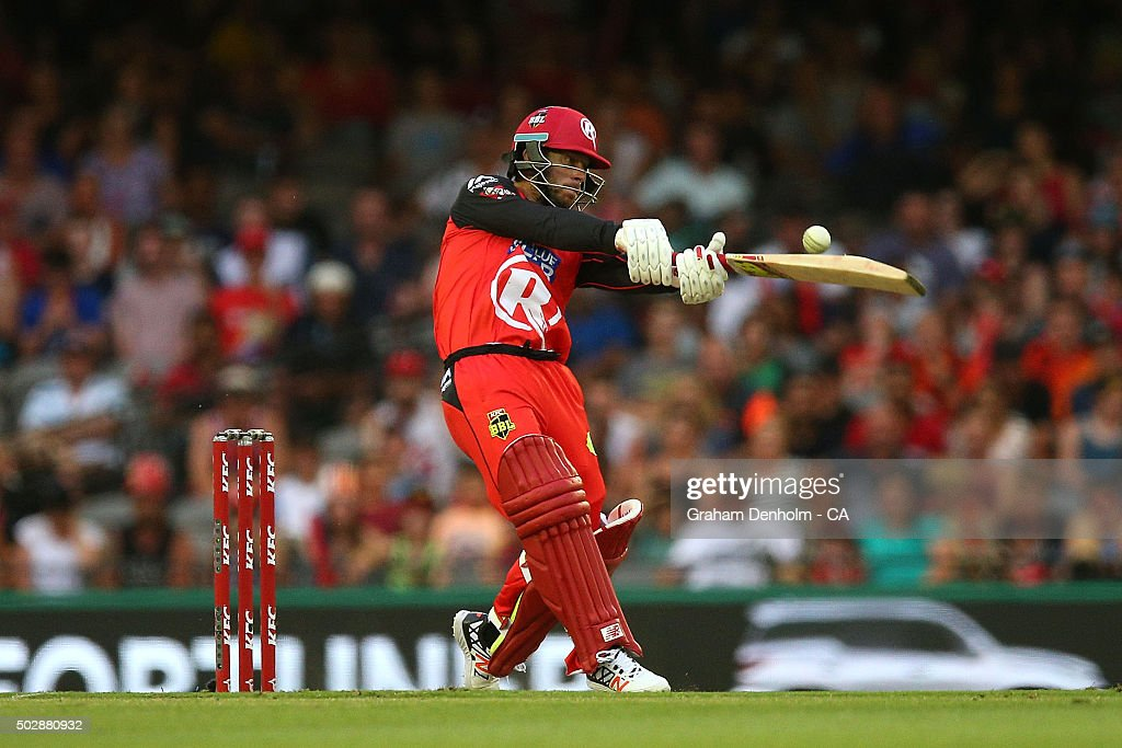 Matthew Wade of the Renegades plays a shot during the Big Bash League match between the Melbourne Renegades and the Perth Scorchers at Etihad Stadium on December 30, 2015 in Melbourne, Australia.