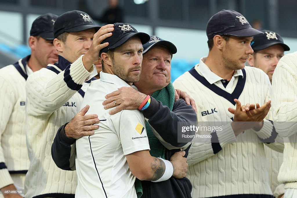 Matthew Wade of Victoria and coach Greg Shipperd of Victoria celebrate after a win during day five of the Sheffield Shield final match between Victoria and Western Australia at Blundstone Arena on March 25, 2015 in Hobart, Australia.