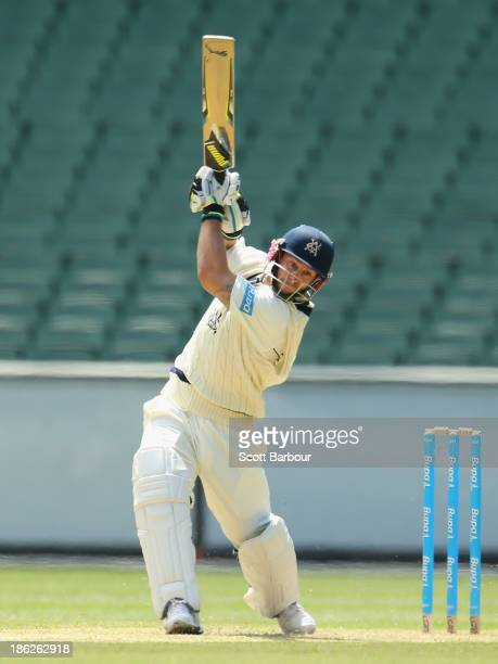 Matthew Wade of Victoria bats during day one of the Sheffield Shield match between the Victoria Bushrangers and the Western Australia at the...
