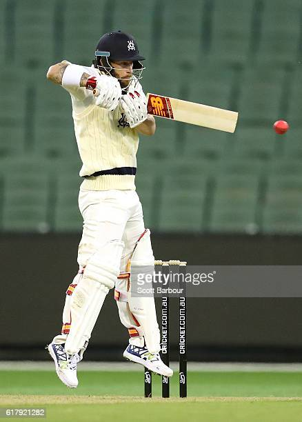 Matthew Wade of Victoria bats during day one of the Sheffield Shield match between Victoria and Tasmania at the Melbourne Cricket Ground on October...