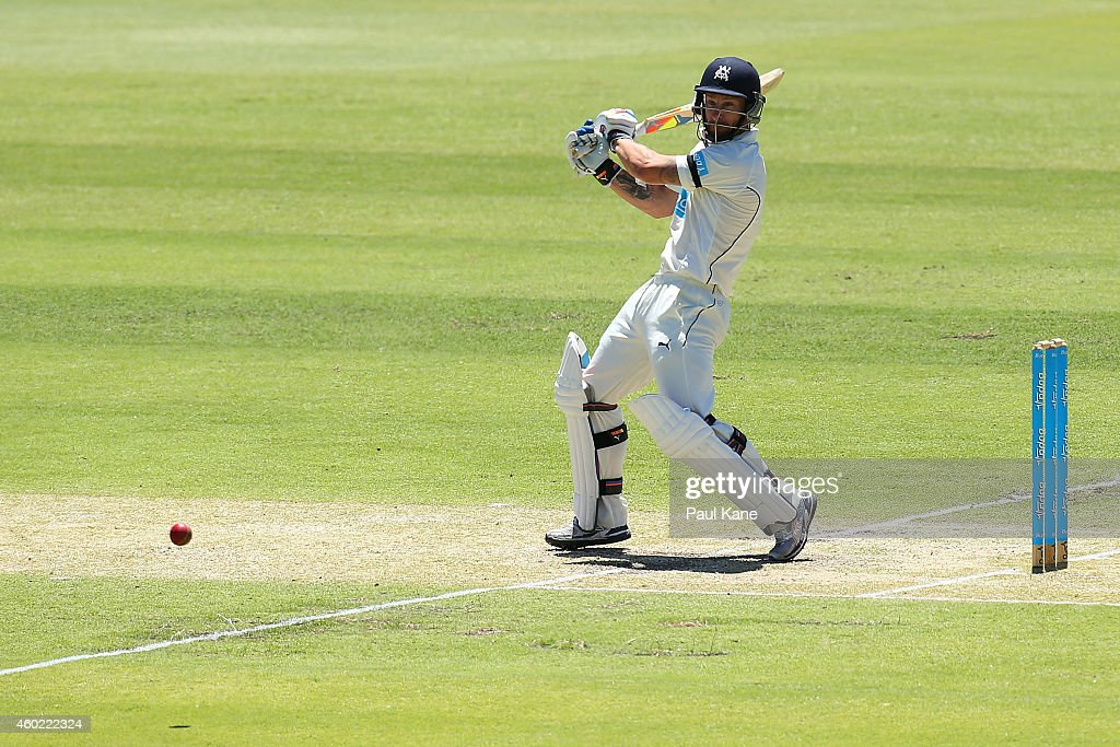 <a gi-track='captionPersonalityLinkClicked' href=/galleries/search?phrase=Matthew+Wade&family=editorial&specificpeople=724041 ng-click='$event.stopPropagation()'>Matthew Wade</a> of Victoria bats during day two of the Sheffield Shield match between Western Australia and Victoria at WACA on December 10, 2014 in Perth, Australia.