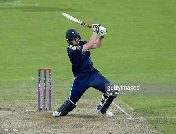 Matthew Waite of Yorkshire Vikings in action during the Royal London OneDay Cup Play Off between Yorkshire Vikings and Surrey at Headingley on June...