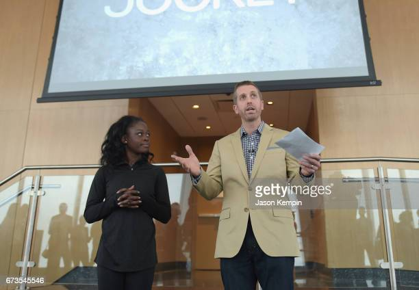 Matthew Waller of Jockey introduces Ballerina Michaela DePrince at the Jockey 'Show'Em What's Underneath Show'Em Your Jockey' Event in NYC at One...