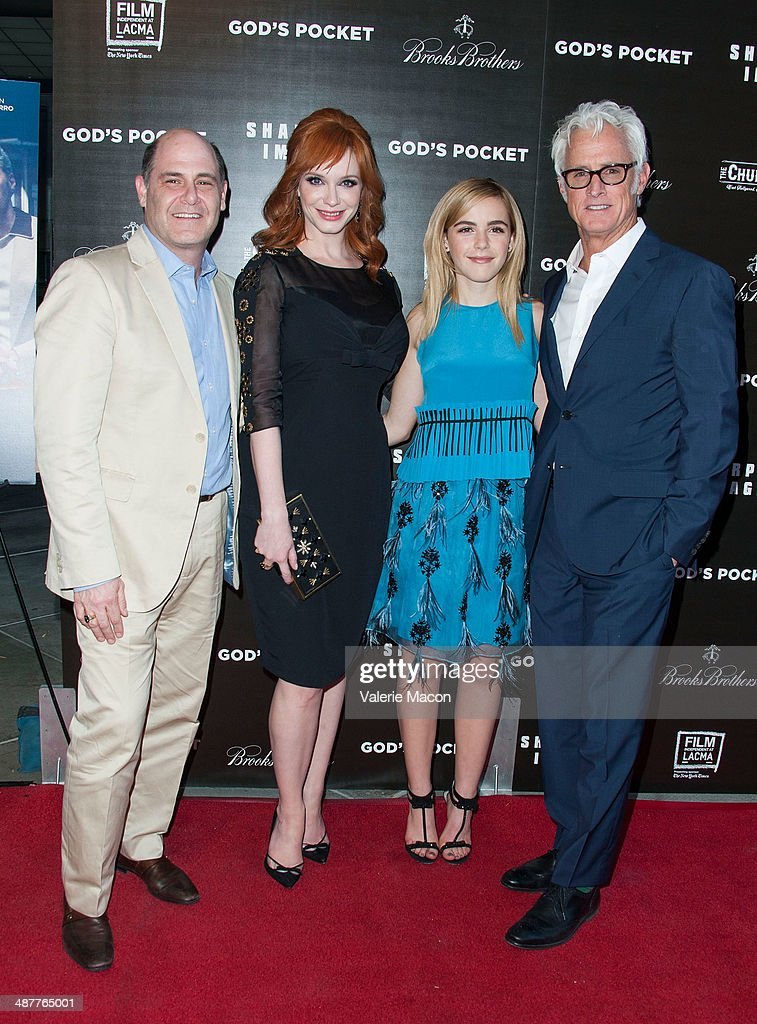<a gi-track='captionPersonalityLinkClicked' href=/galleries/search?phrase=Matthew+Weiner&family=editorial&specificpeople=4148376 ng-click='$event.stopPropagation()'>Matthew Weiner</a>, <a gi-track='captionPersonalityLinkClicked' href=/galleries/search?phrase=Christina+Hendricks&family=editorial&specificpeople=2239736 ng-click='$event.stopPropagation()'>Christina Hendricks</a>, <a gi-track='captionPersonalityLinkClicked' href=/galleries/search?phrase=Kiernan+Shipka&family=editorial&specificpeople=5535048 ng-click='$event.stopPropagation()'>Kiernan Shipka</a> and <a gi-track='captionPersonalityLinkClicked' href=/galleries/search?phrase=John+Slattery&family=editorial&specificpeople=857095 ng-click='$event.stopPropagation()'>John Slattery</a> arrive at the Premiere Of IFC Films' 'God's Pocket' at LACMA on May 1, 2014 in Los Angeles, California.