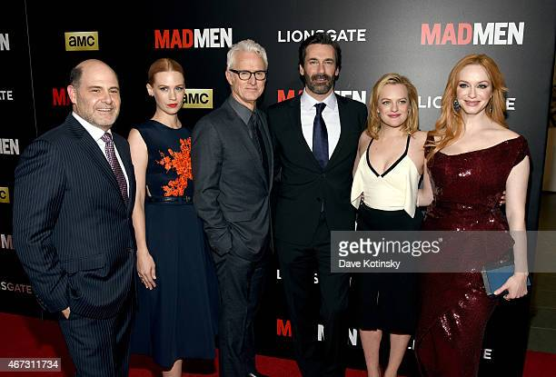 Matthew Weiner January Jones John Slattery Jon Hamm Elisabeth Moss and Christina Hendricks attend the 'Mad Men' New York Special Screening at The...