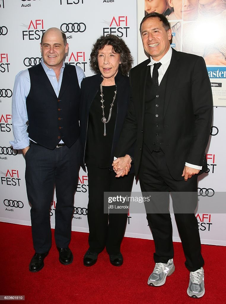 Matthew Weiner,Lily Tomlin and David O. Russell attend the premiere of Cinema's Legacy Conversation for 'Flirting With Disaster' at AFI Fest 2016, presented by Audi at TCL Chinese 6 Theatres on November 11, 2016 in Hollywood, California.