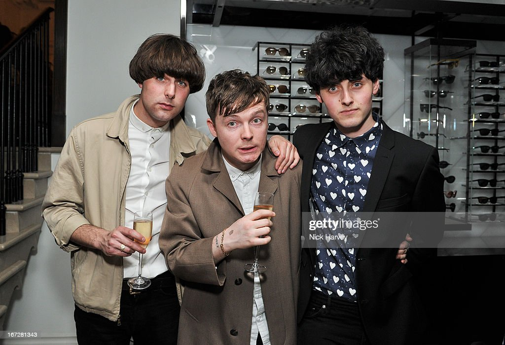 Matthew Whitehouse (R) form The Heartbreaks performs at Burberry Live at 121 Regent Street at Burberry on April 23, 2013 in London, England.