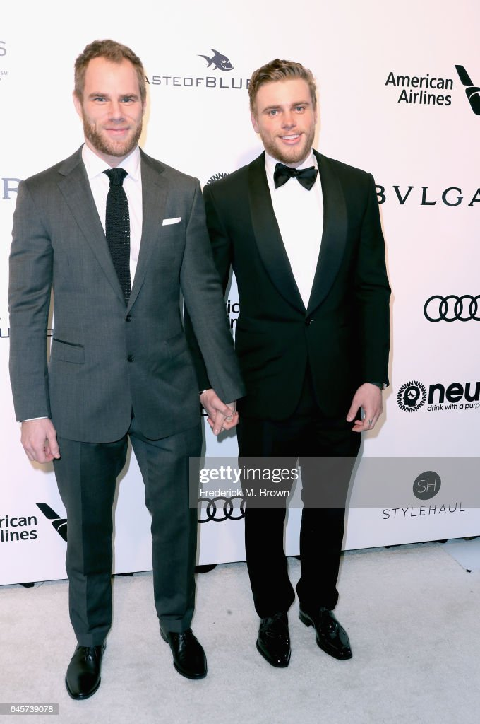 Matthew Wilkas and skiier Gus Kenworthy (R) attend the 25th Annual Elton John AIDS Foundation's Academy Awards Viewing Party at The City of West Hollywood Park on February 26, 2017 in West Hollywood, California.