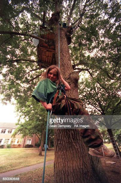 Matthew Williams descends from his tree house at the Silver Birches site in Epsom Surrey today Elevenyearold Matthew also known as General Survival...