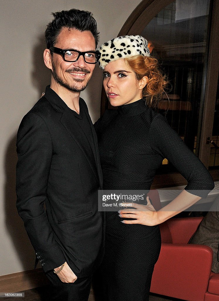 Matthew Williamson (L) and Paloma Faith attend the AnOther Magazine and Dazed & Confused party with Belvedere Vodka at the Cafe Royal hotel on February 18, 2013 in London, England.