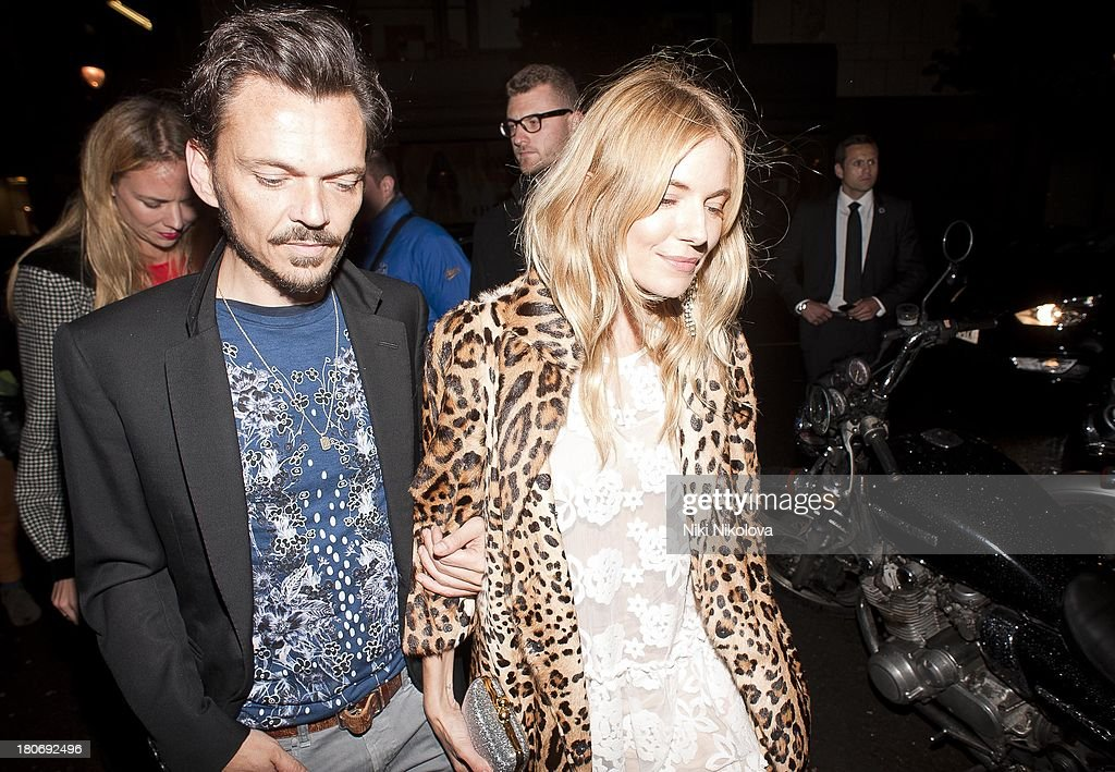 Matthew Williamson and sienna Miller attend a private dinner hosted by British Vogue celebrating London Fashion Week SS14 on September 15, 2013 in London, England.