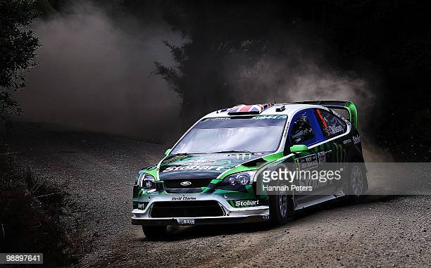 Matthew Wilson of Great Britain and codriver Scott Martin drive their Ford Focus RS WRC 09 during stage 6 of the WRC Rally of New Zealand on May 7...