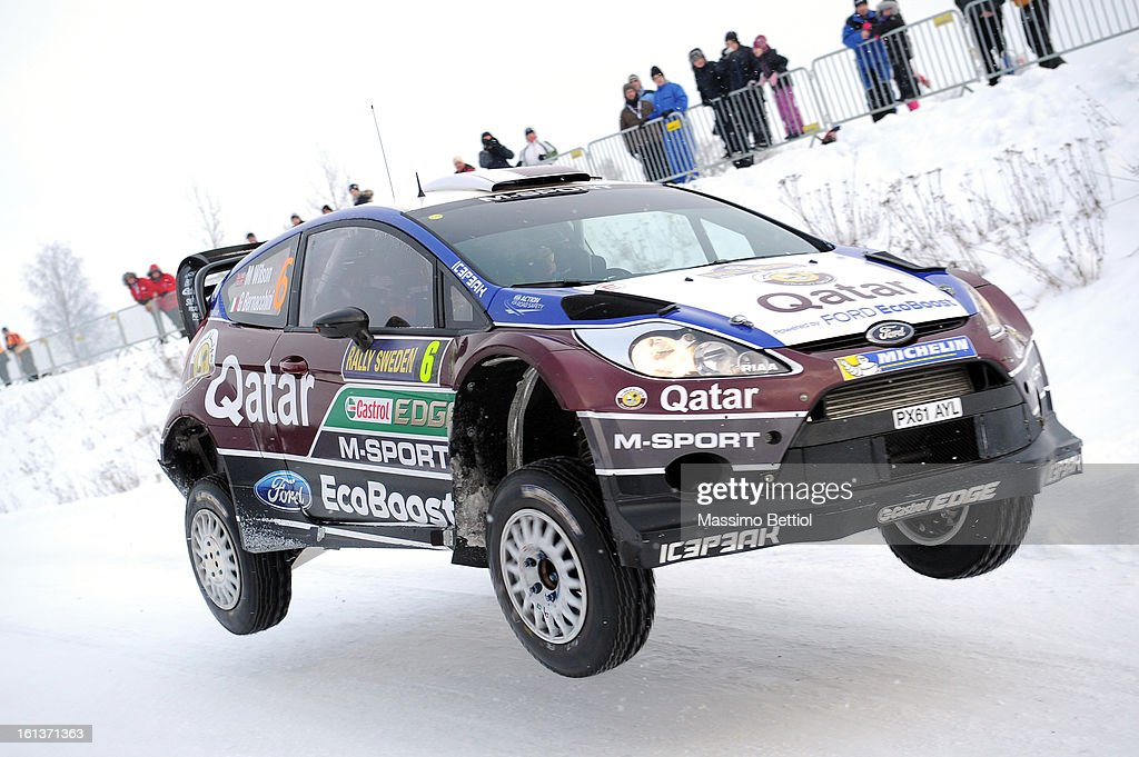 Matthew Wilson of Great Britain and Giovanni Bernacchini of Italy compete in their Qatar WRT Ford Fiesta RS WRC during Day Three of the WRC Sweden on February 10 , 2013 in Karlstad , Sweden.
